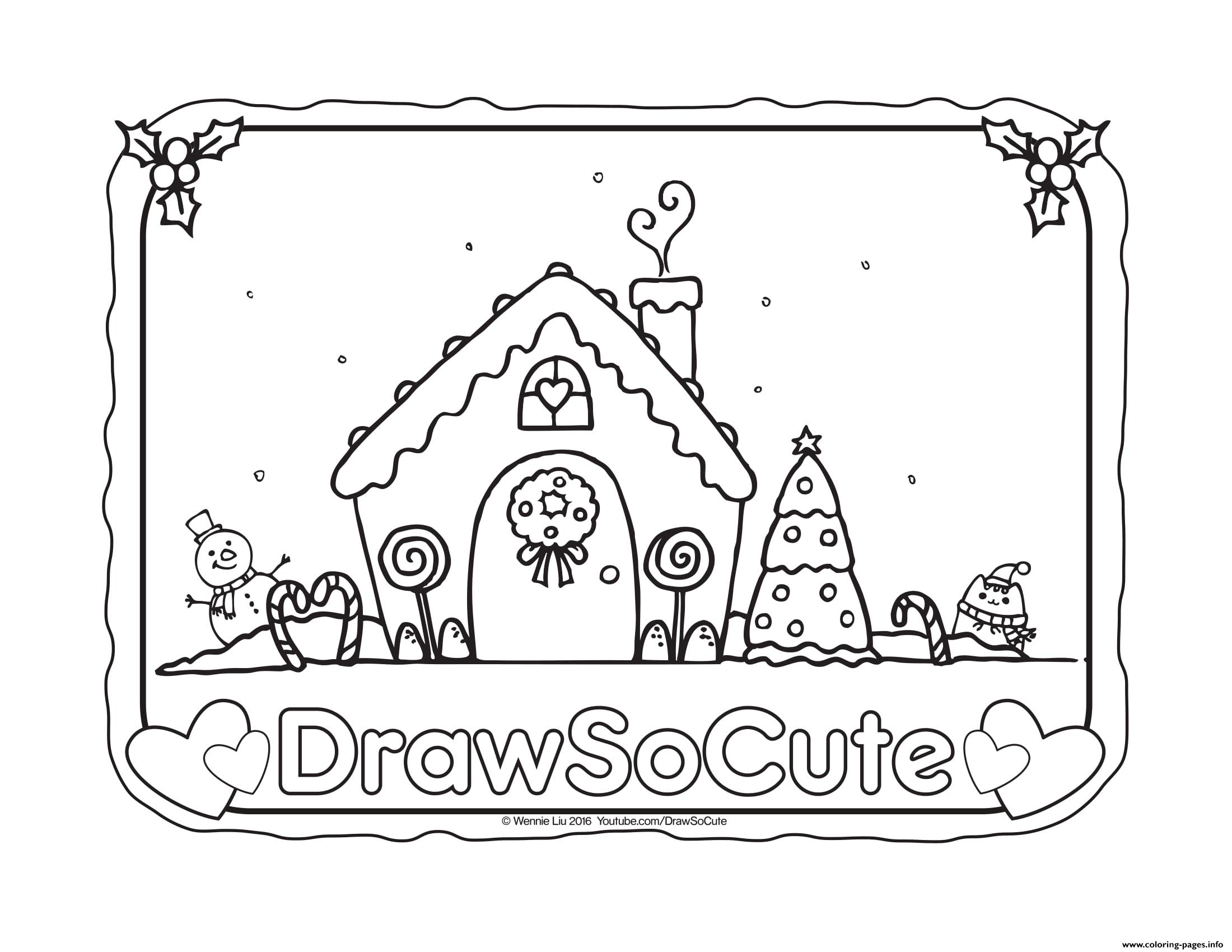 Gingerbread house draw so cute coloring pages printable for Draw so cute coloring pages