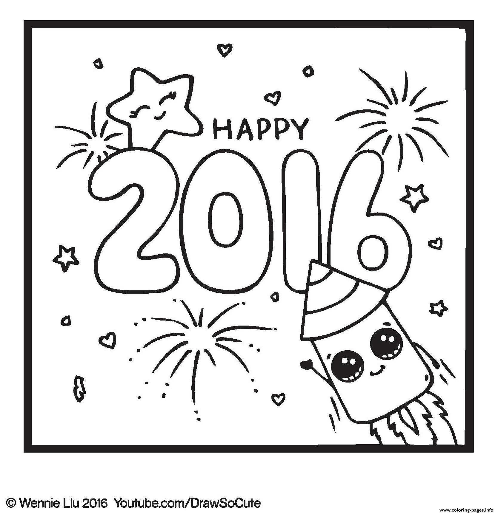 Happy new year draw so cute coloring pages printable for Draw so cute coloring pages