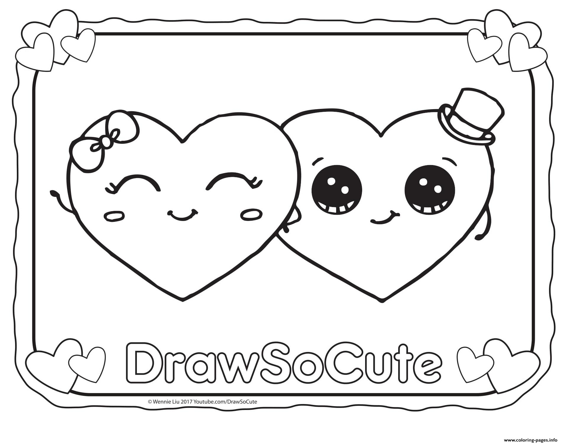Cute Coloring Pages Valentine Hearts Draw So Cute Coloring Pages Printable