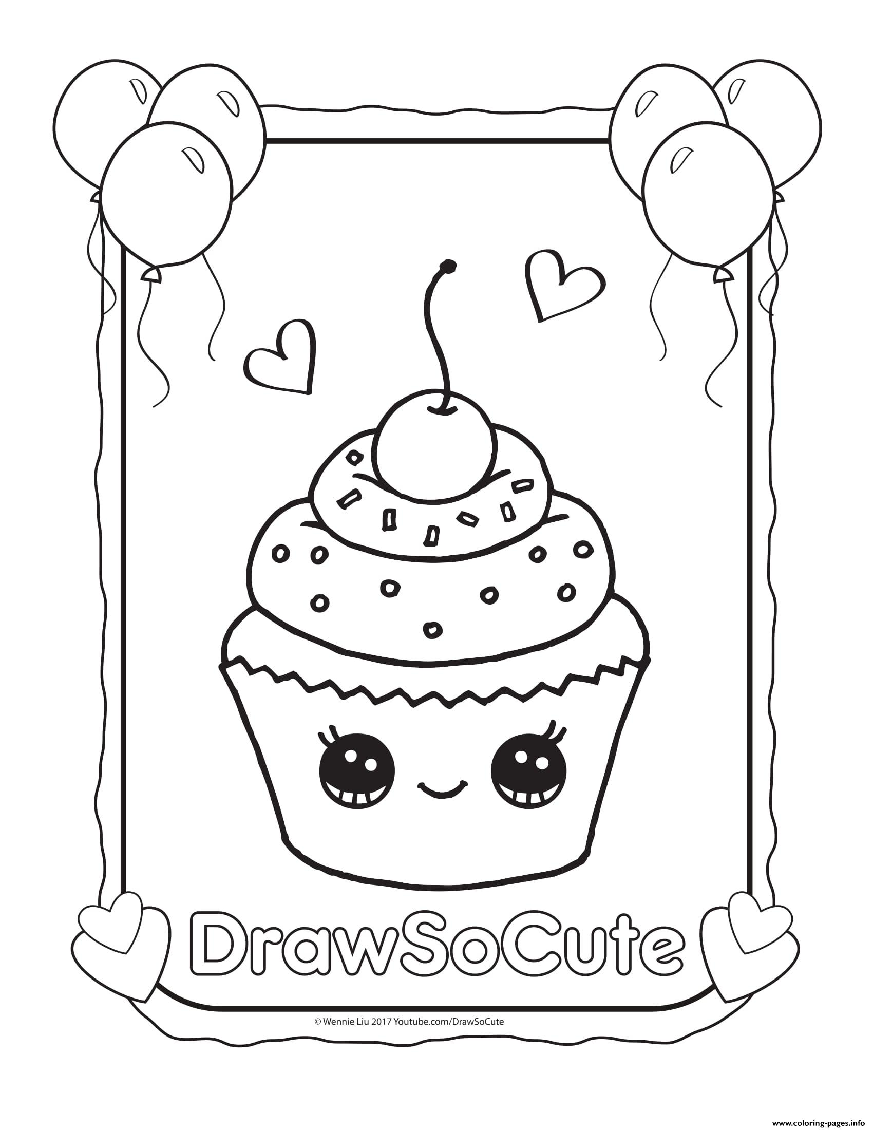 Cupcake draw so cute coloring pages printable for Cute coloring book pages