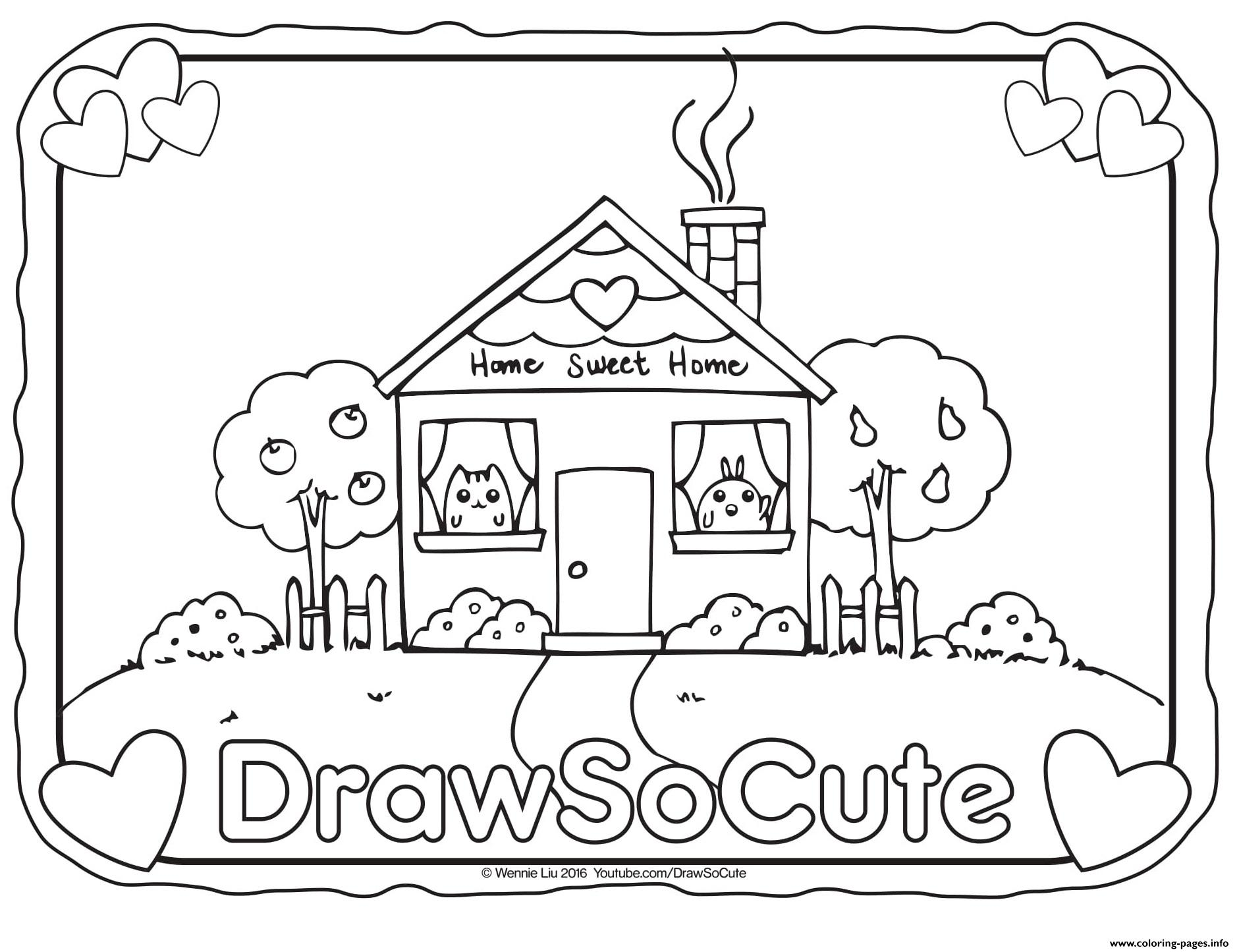 House draw so cute coloring pages printable for Draw so cute coloring pages