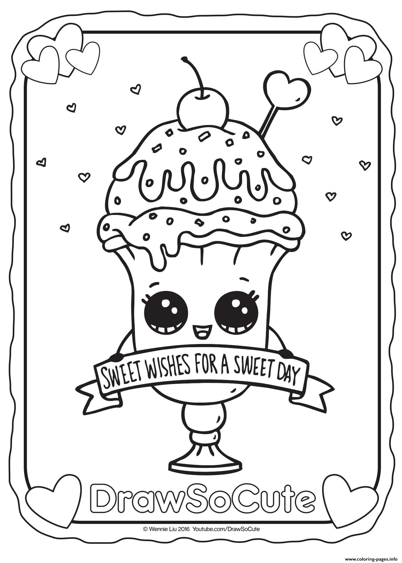 valentine ice cream sundae draw so cute coloring pages printable