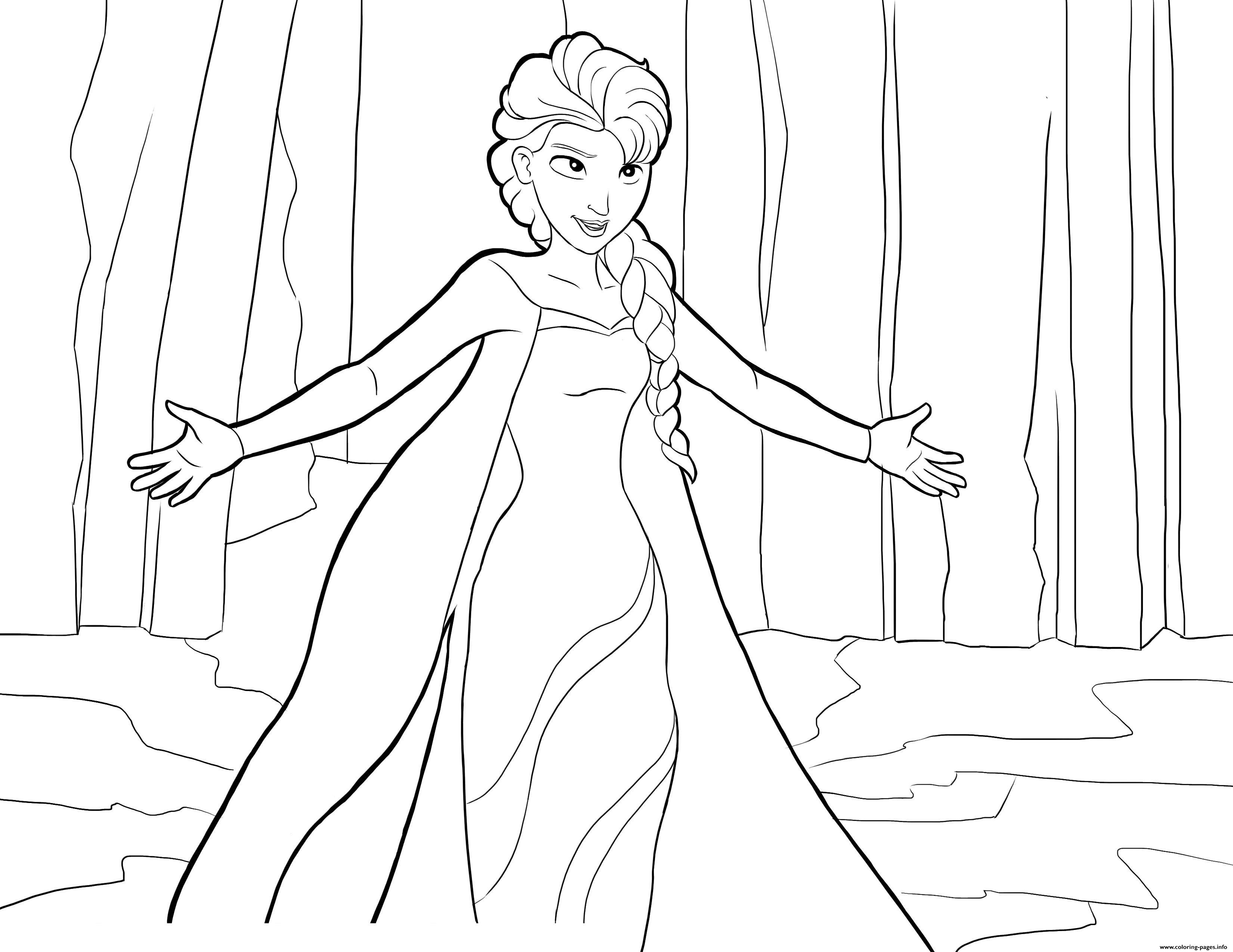 Elsa frozen disney 2 coloring pages printable