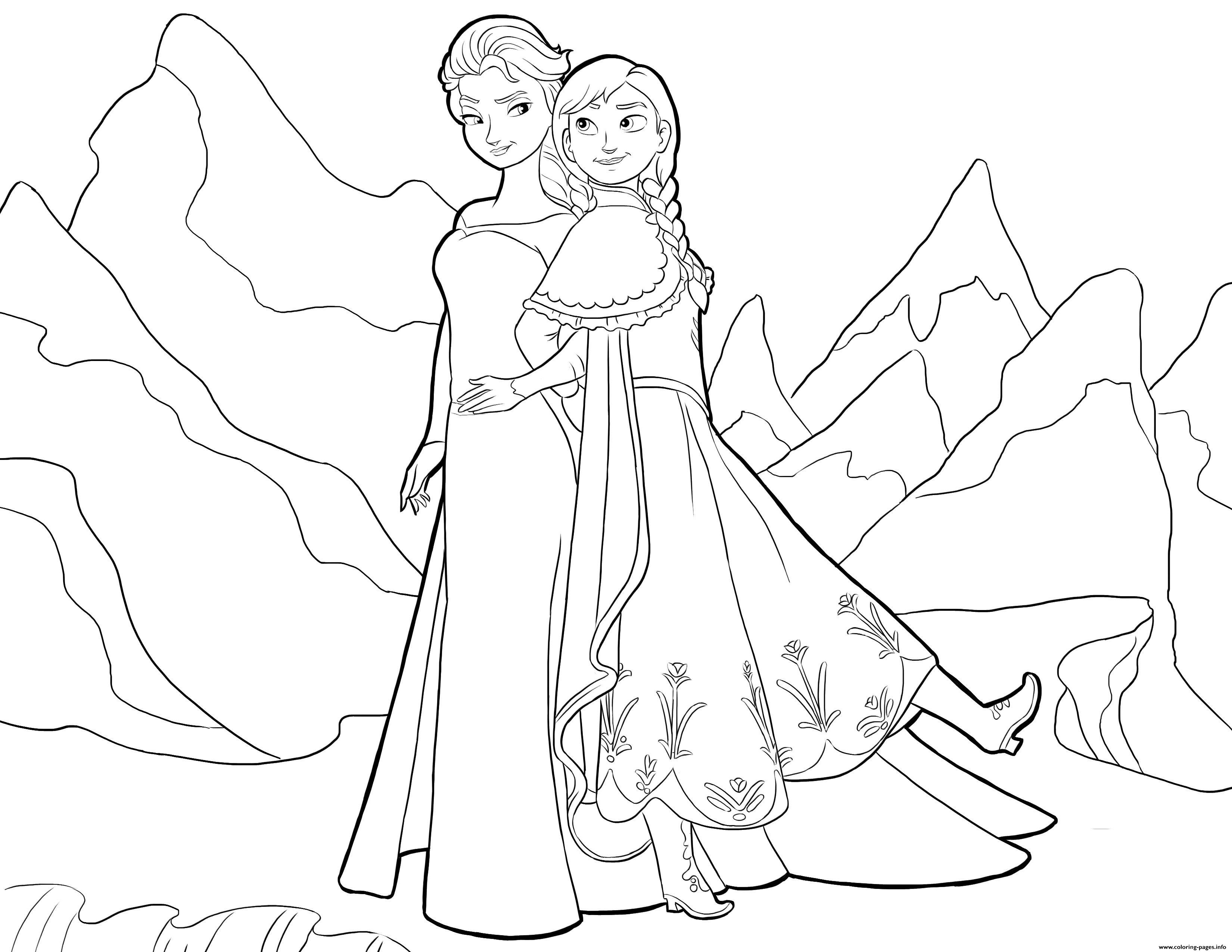 Elsa And Anna Frozen Disney Coloring Pages Printable