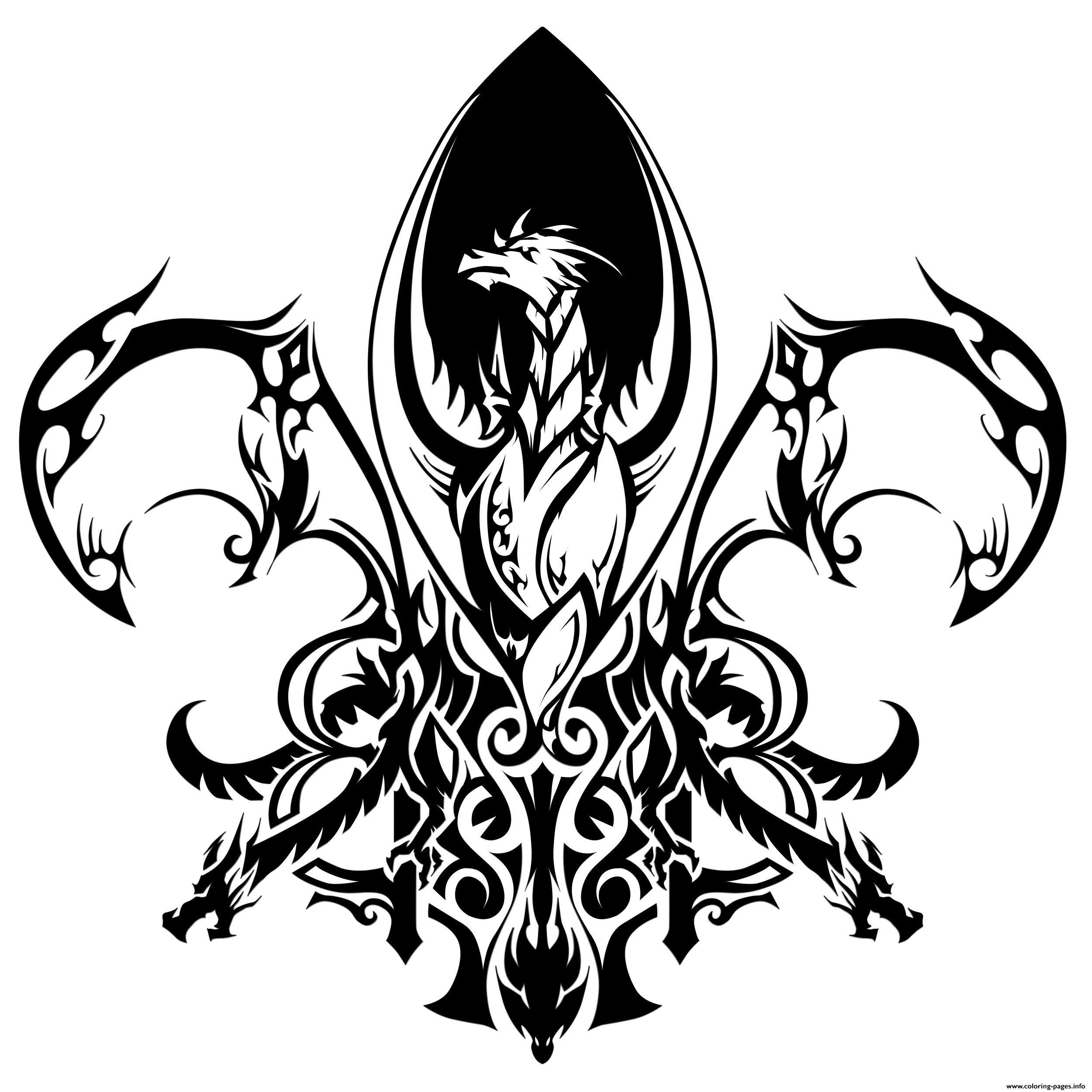 fleur de lis forme de dragon coloring pages printable