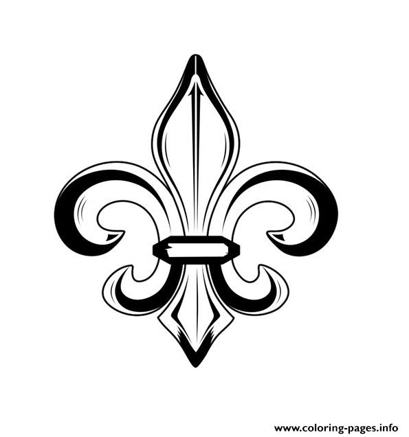 picture regarding Fleur De Lis Printable named Fleur De Lis Progressive Very simple Tattoo Coloring Webpages Printable