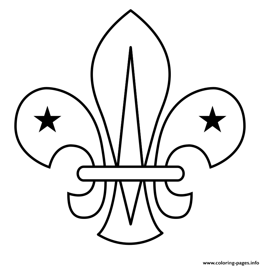 fleur de lis scouting scout coloring pages printable. Black Bedroom Furniture Sets. Home Design Ideas