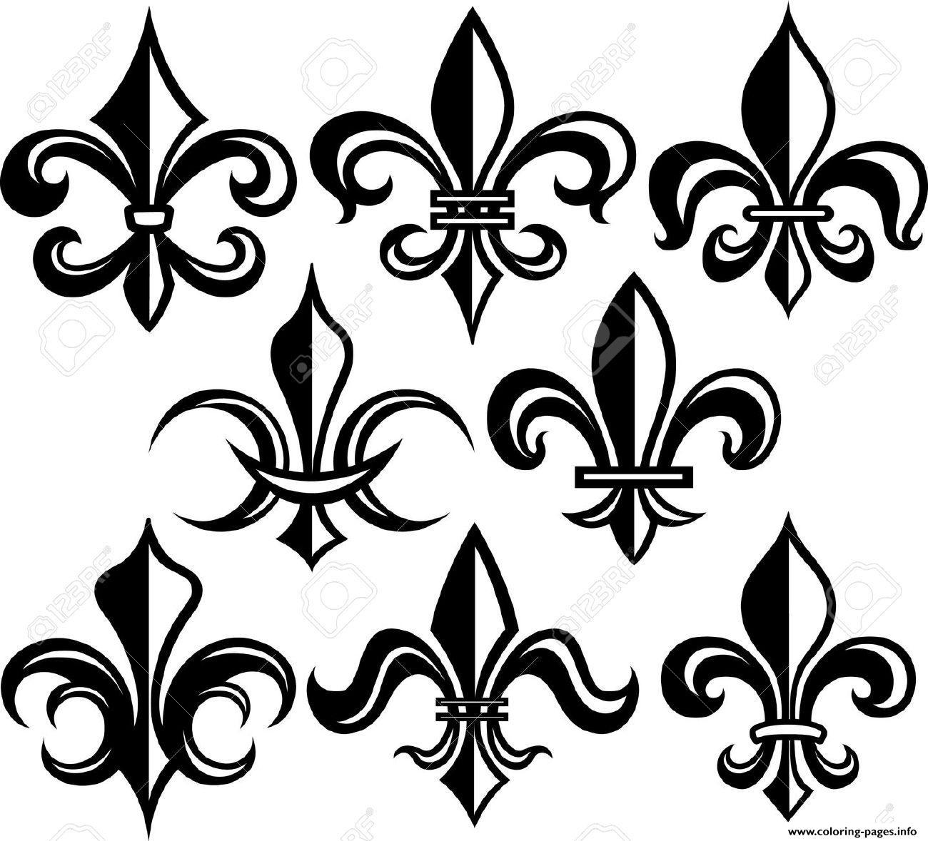 fleur de lis coloring pages - fleur de lis new orleans stock vector coloring pages printable