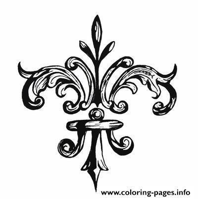 Fleur de lis by grogee coloring pages printable for Printable fleur de lis coloring pages