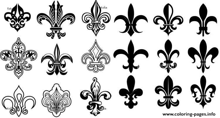 fleur de lis france louisiana quebec gothic traditional art deco coloring pages printable. Black Bedroom Furniture Sets. Home Design Ideas