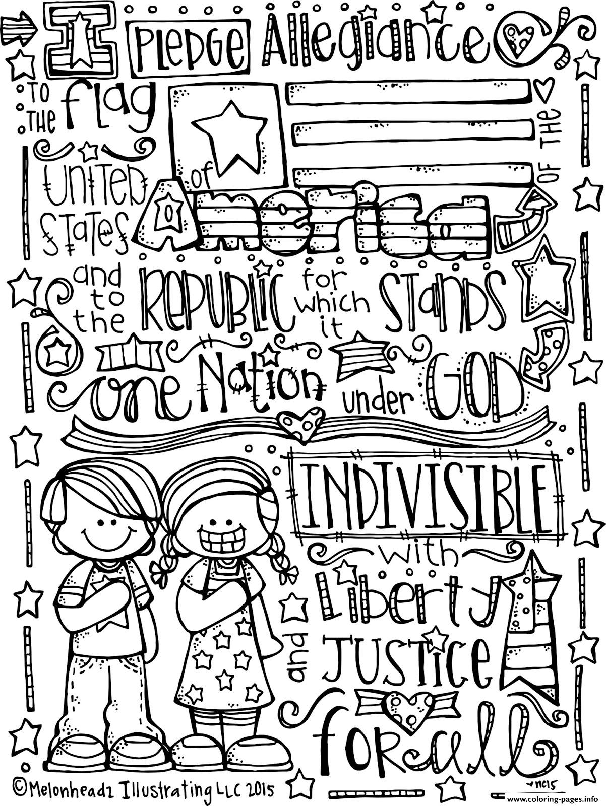 Coloring pages 2015 - Pledge Of Allegiance Melonheadz Illustrating Llc 2015 Bw Coloring Pages Printable