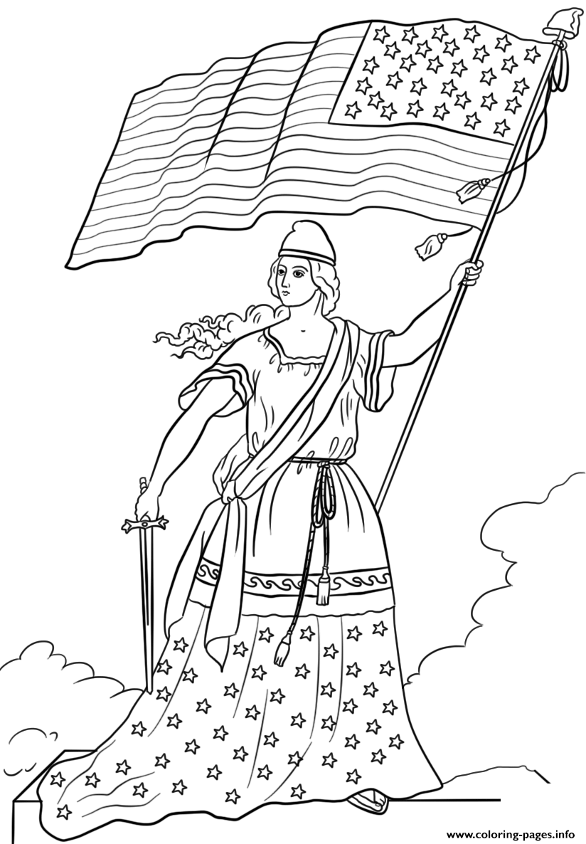 American Flag Lady Coloring Pages Printable