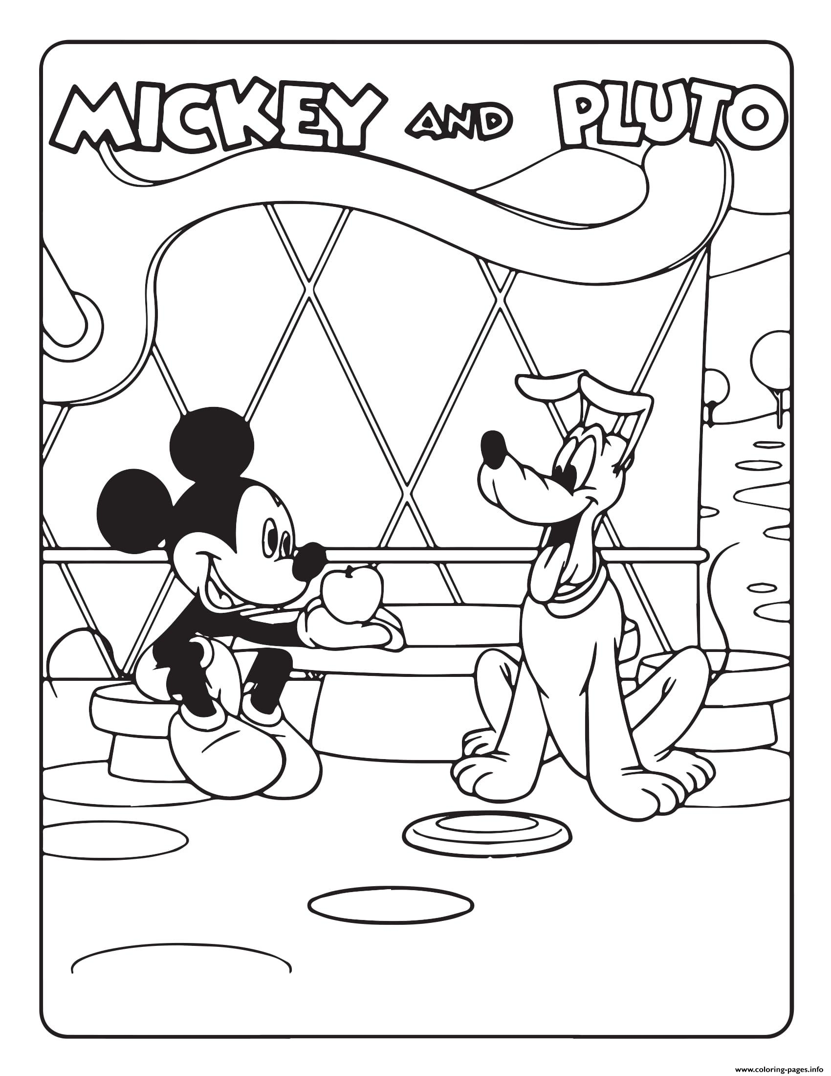 Mickey Mouse And Pluto Disney coloring pages