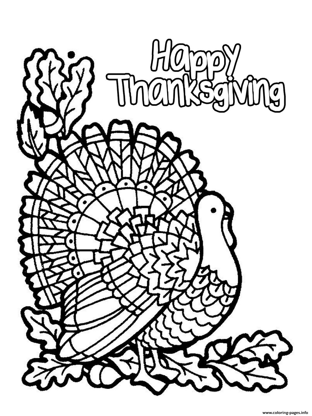 Happy Thanksgiving Turkey Coloring Pages Printable