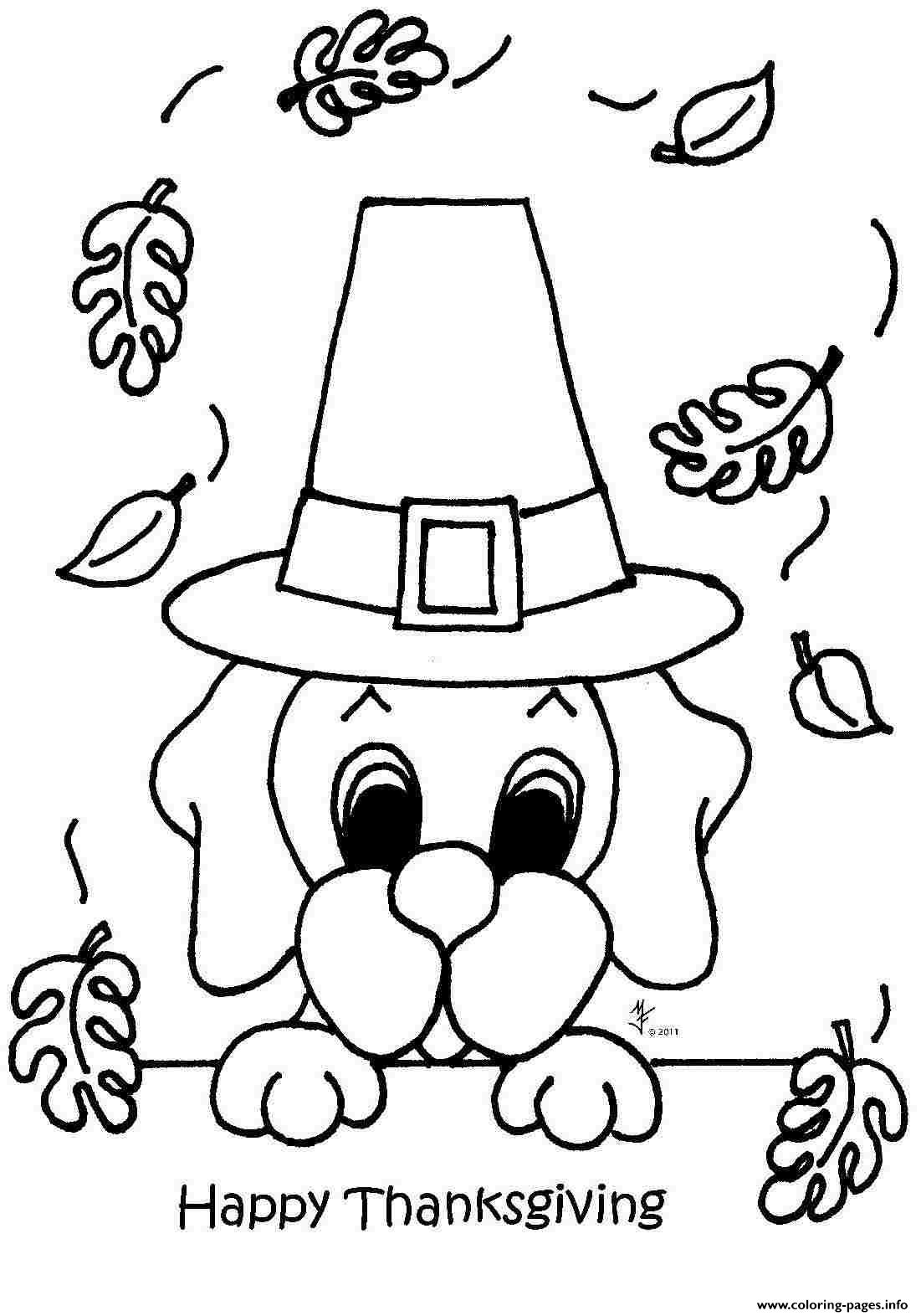 Happy Thanksgiving Cute Dog Coloring Pages Printable
