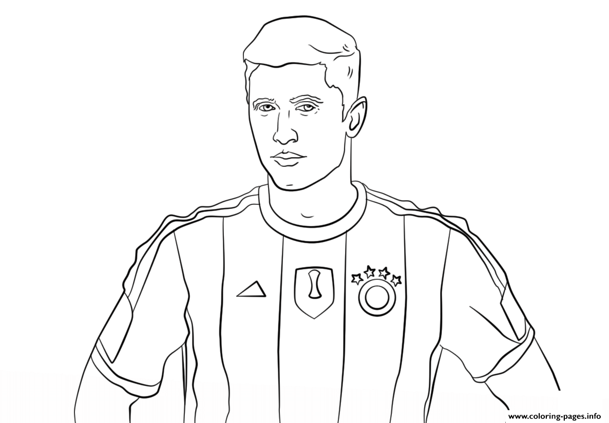 robert lewandowski soccer coloring pages printable