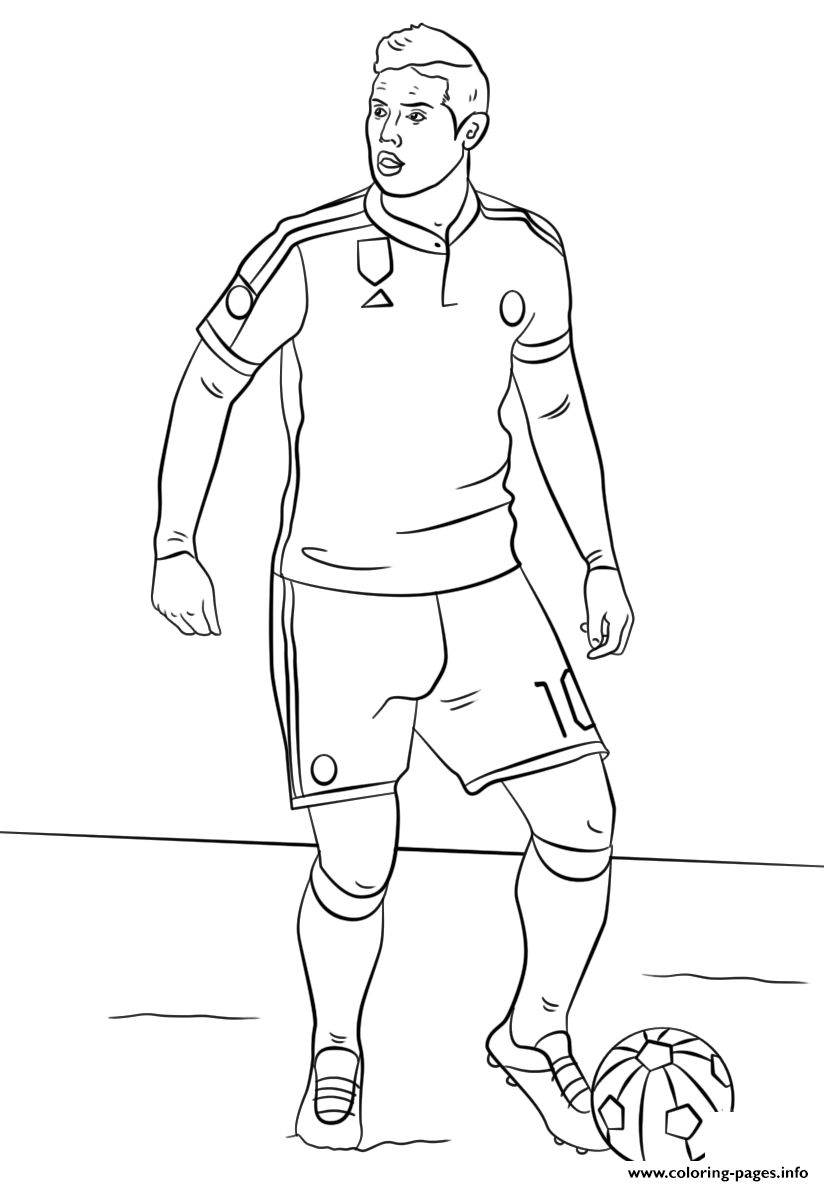 James Rodriguez Soccer Coloring Pages Printable