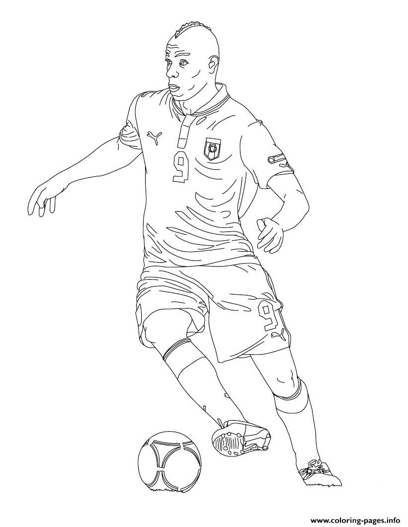Mario Baloteli Soccer Coloring Pages Printable