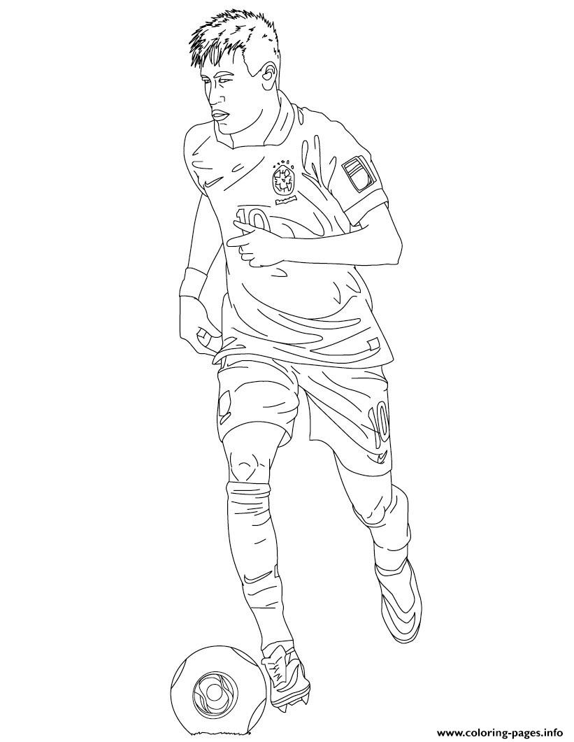 Neymar Bresil Soccer Coloring Pages Printable