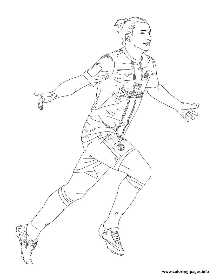 zlatan ibrahimovic psg paris soccer coloring pages printable