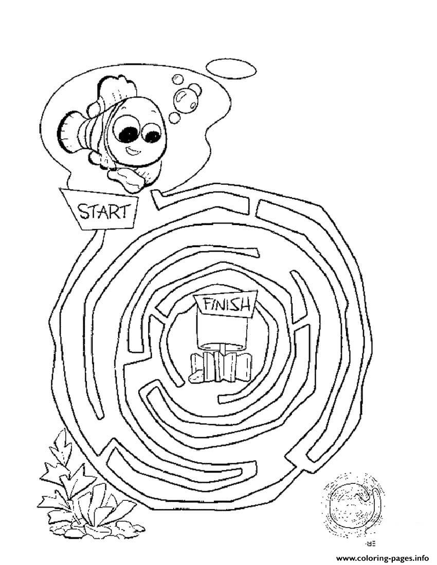 Maze Finding Nemo coloring pages
