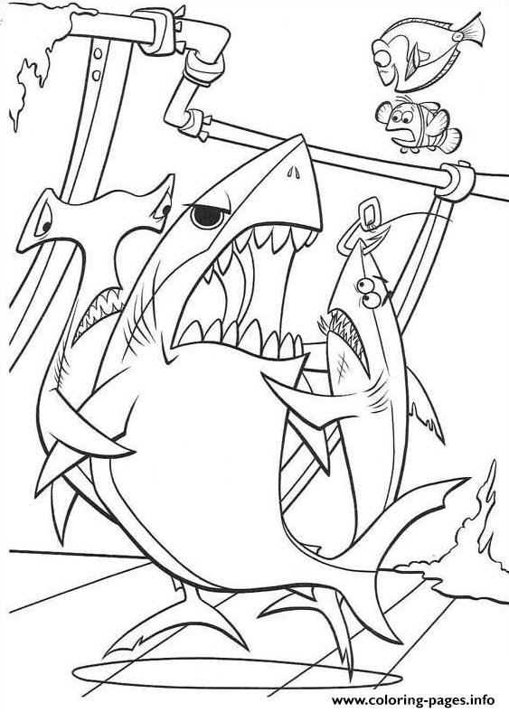 Three Sharks Finding Nemo Coloring Pages Printable