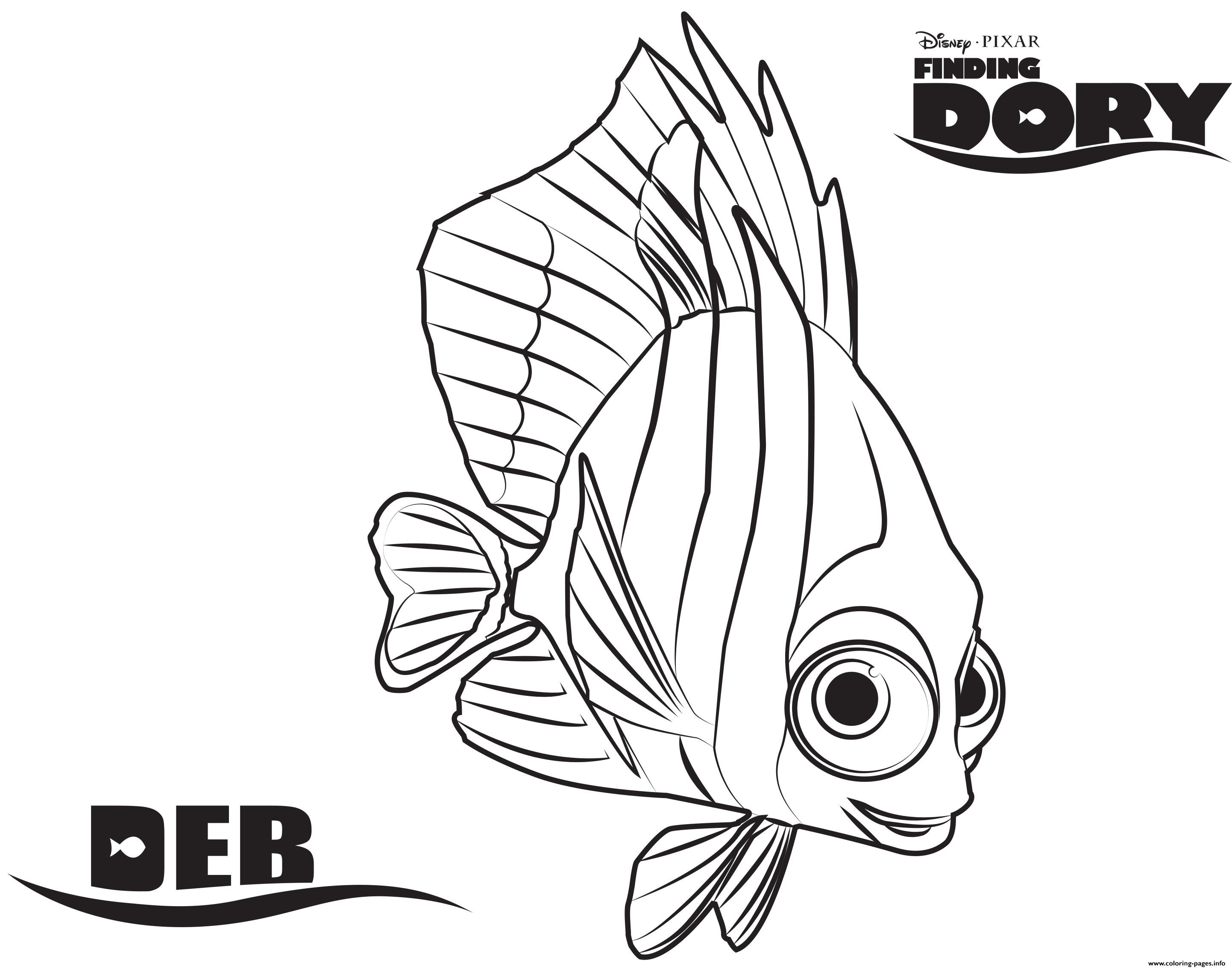 Nemo Y Dory Para Colorear: Deb Finding Dory Disney Coloring Pages Printable