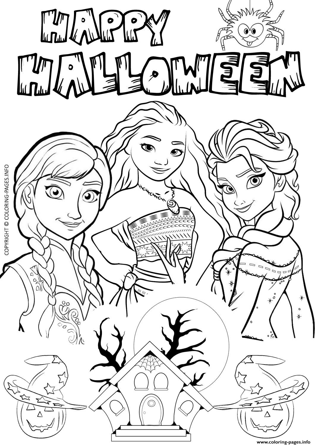 Halloween Frozen Elsa Moana Disney Coloring Pages Printable