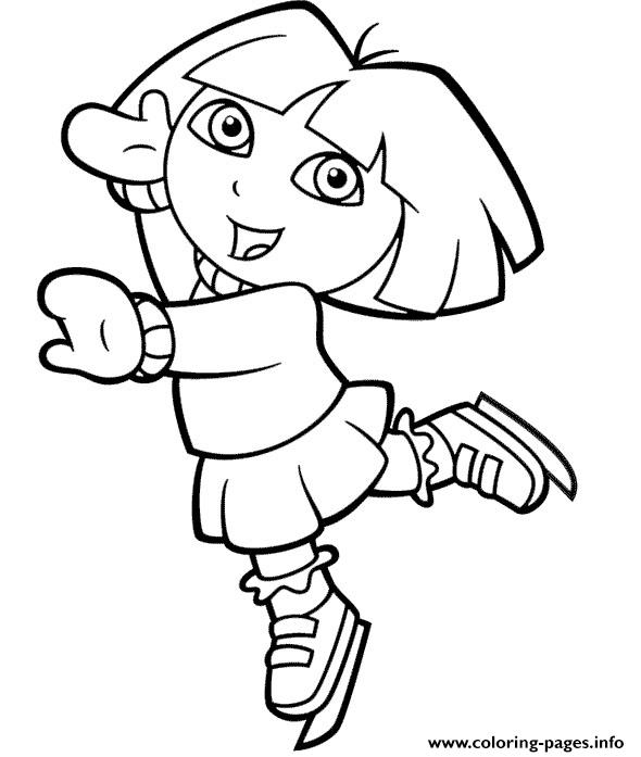 Dora Explorer Ice Skating coloring pages