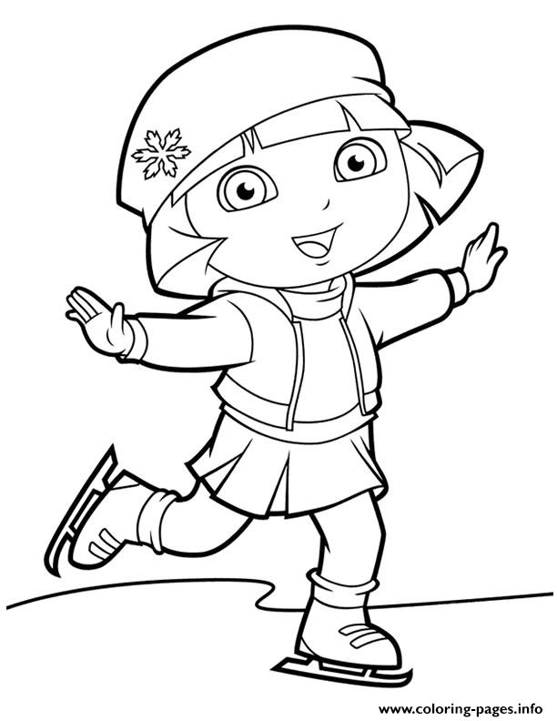 Dora Ice Skating New Coloring Pages Printable