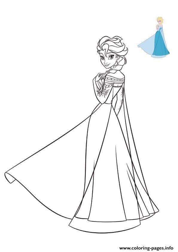 Elsa Frozen 2019 Dress Disney Coloring Pages Printable