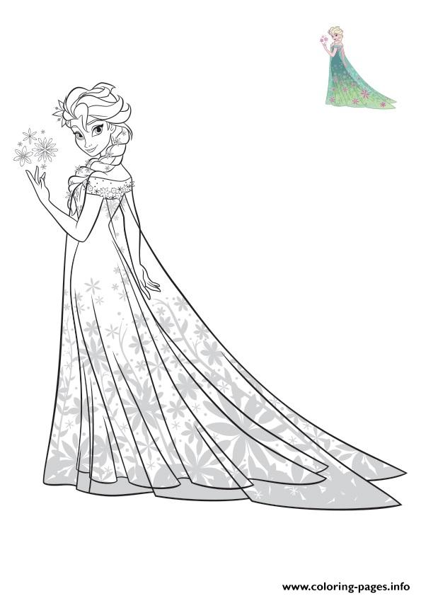 Elsa Frozen Exotic Dress Disney Coloring Pages Printable