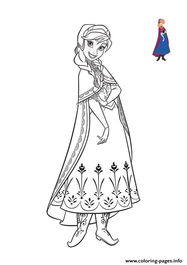 Beautiful Anna Cute Smile Frozen 2 coloring pages