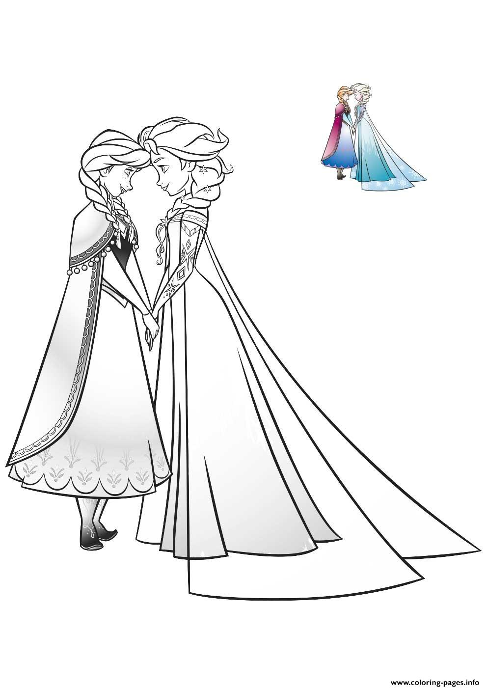 Elsa And Anna Bff Frozen Coloring Pages