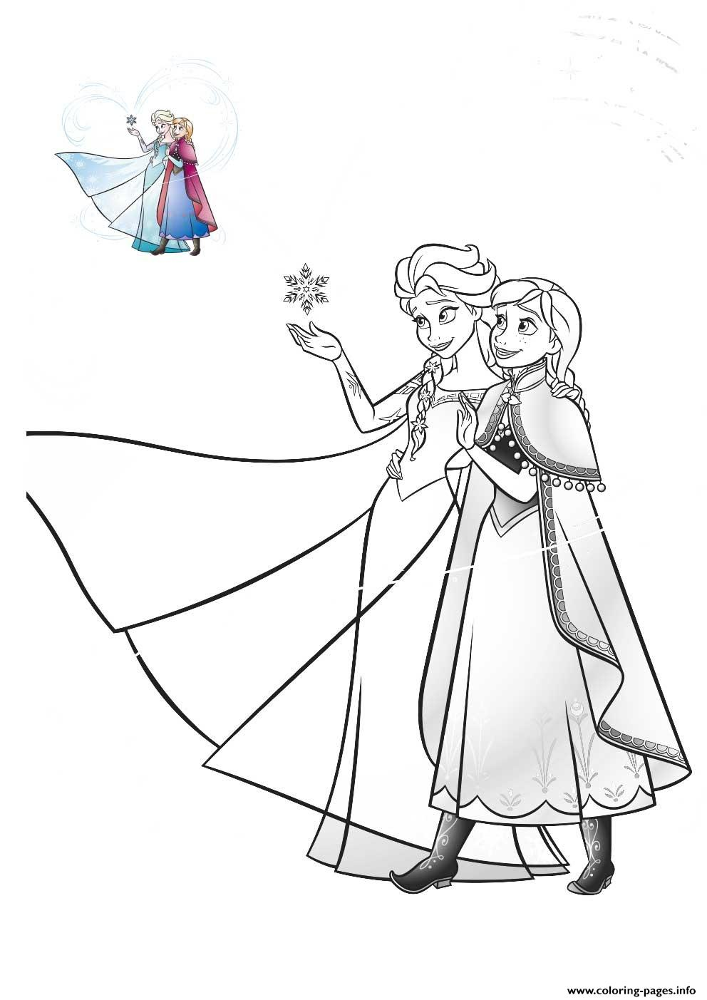 Elsa Anna Family Love Frozen Coloring Pages Printable