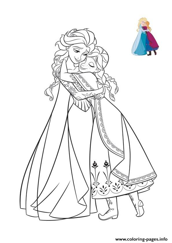 Hug With Sisters Frozen Elsa Anna 2 coloring pages