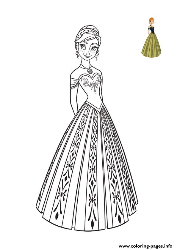 Princess Anna Dress Top Model Frozen 2 Coloring Pages Printable