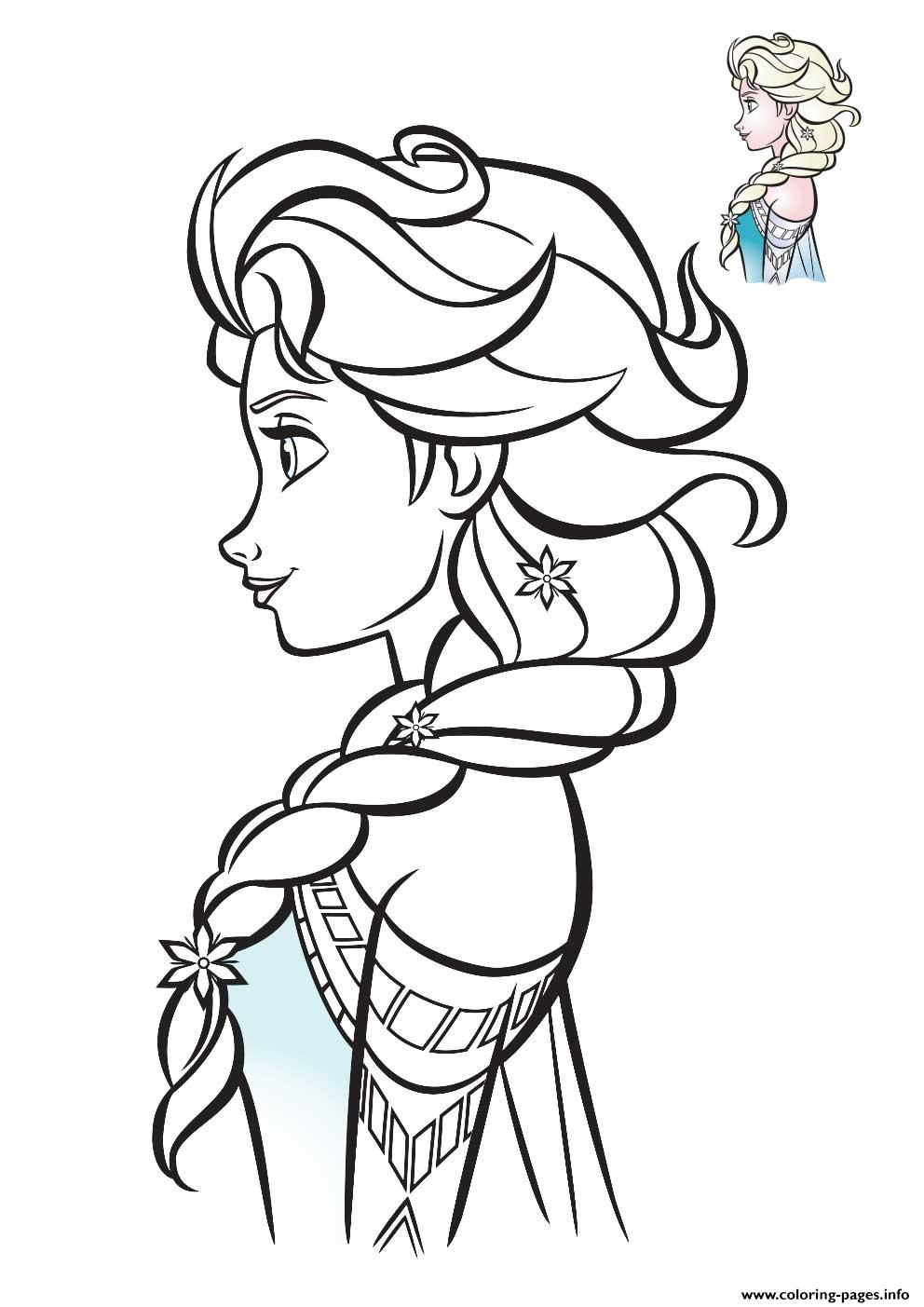 Elsa Frozen Profil 2018 Coloring Pages Printable