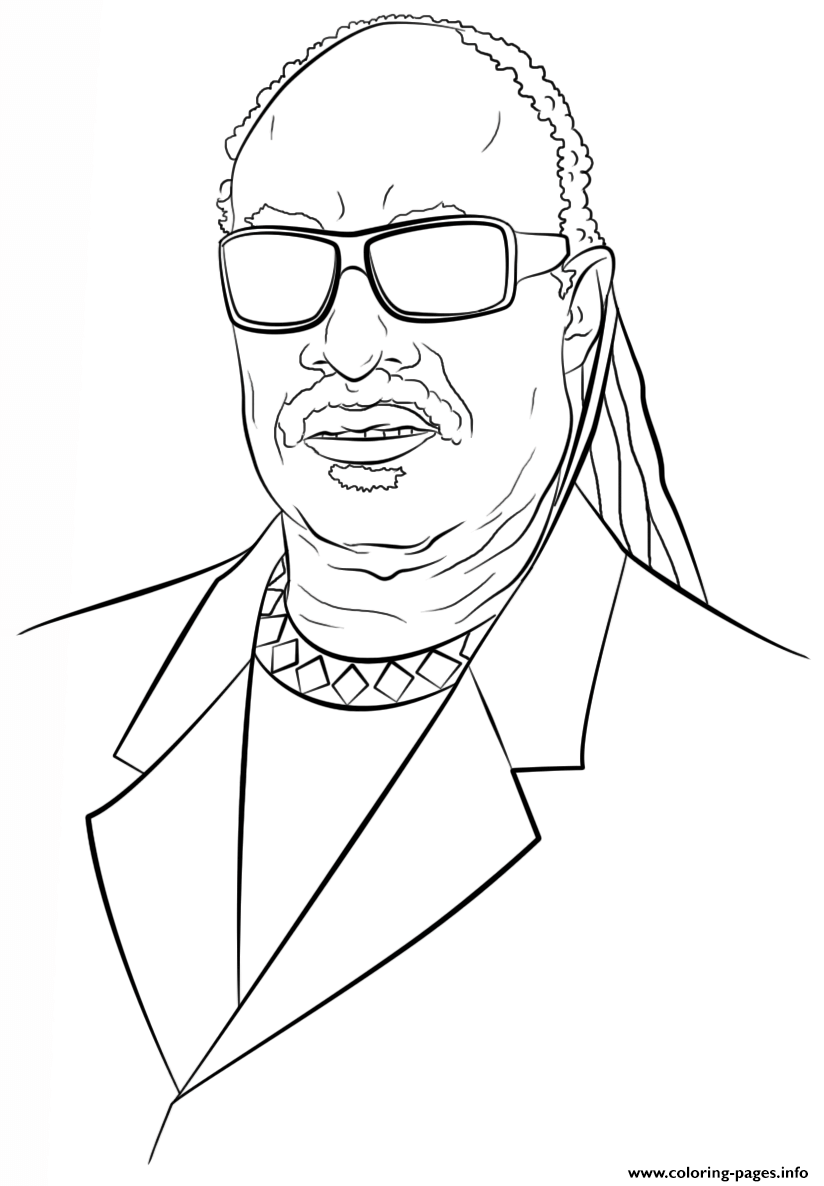 Stevie Wonder Celebrity Coloring Pages Printable