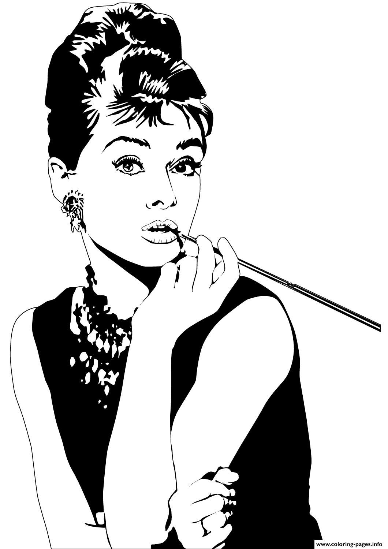 Audrey Hepburn Celebrity Coloring Pages Printable