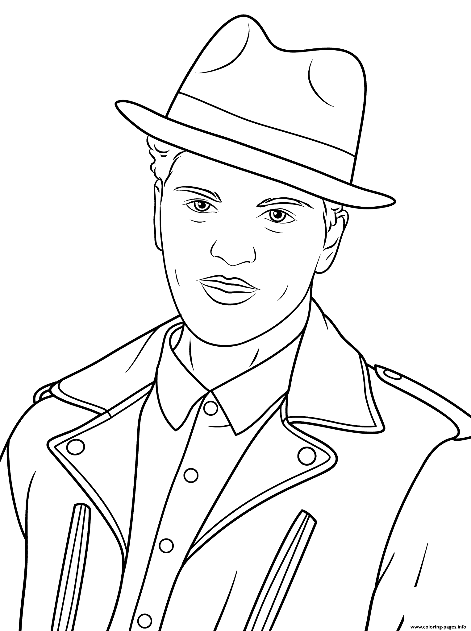Bruno Mars Celebrity Coloring Pages Printable