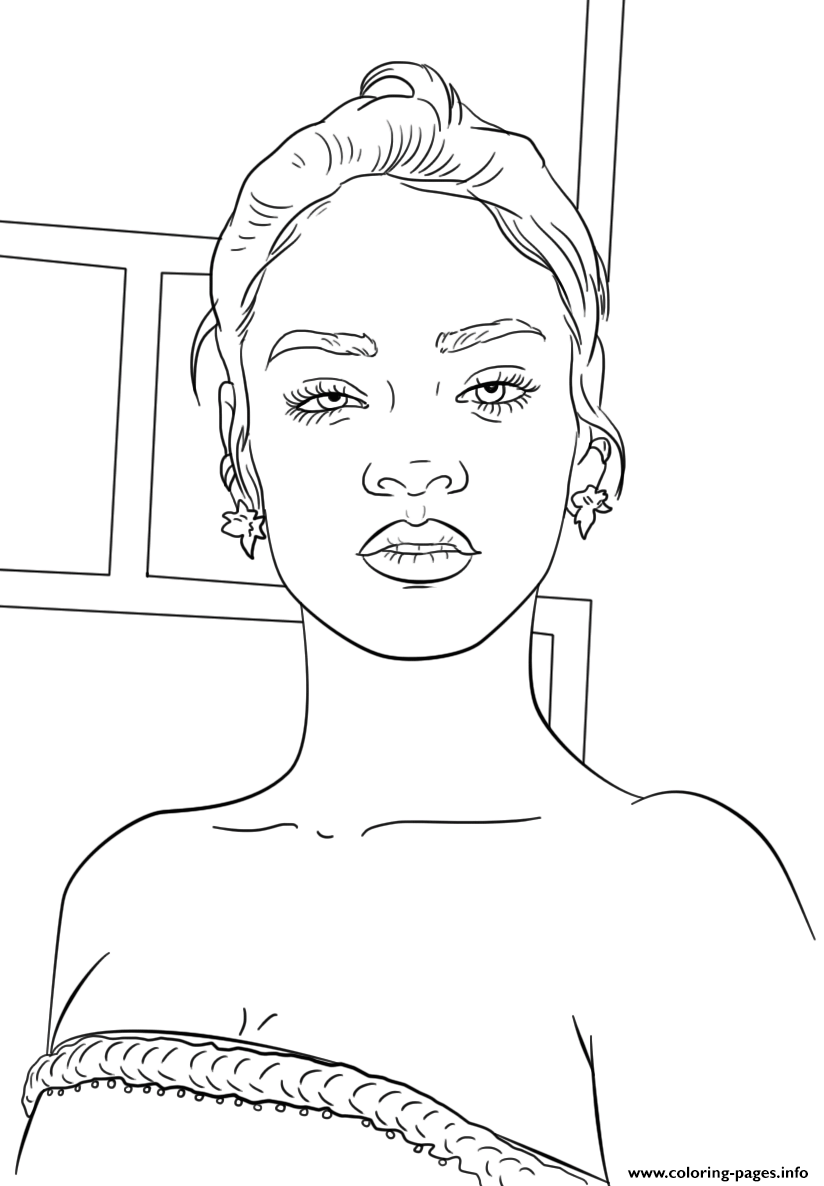 Rihanna Celebrity Coloring Pages Printable