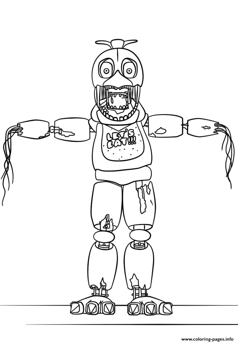 Fnaf Withered Chica Lets Eat coloring pages