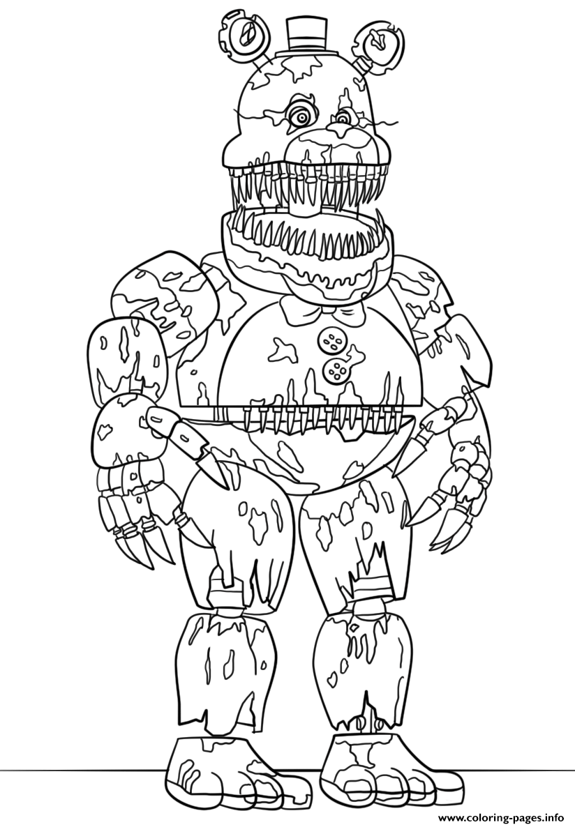 nightmare foxy coloring pages Nightmare Fredbear Scary Fnaf Coloring Pages Printable nightmare foxy coloring pages