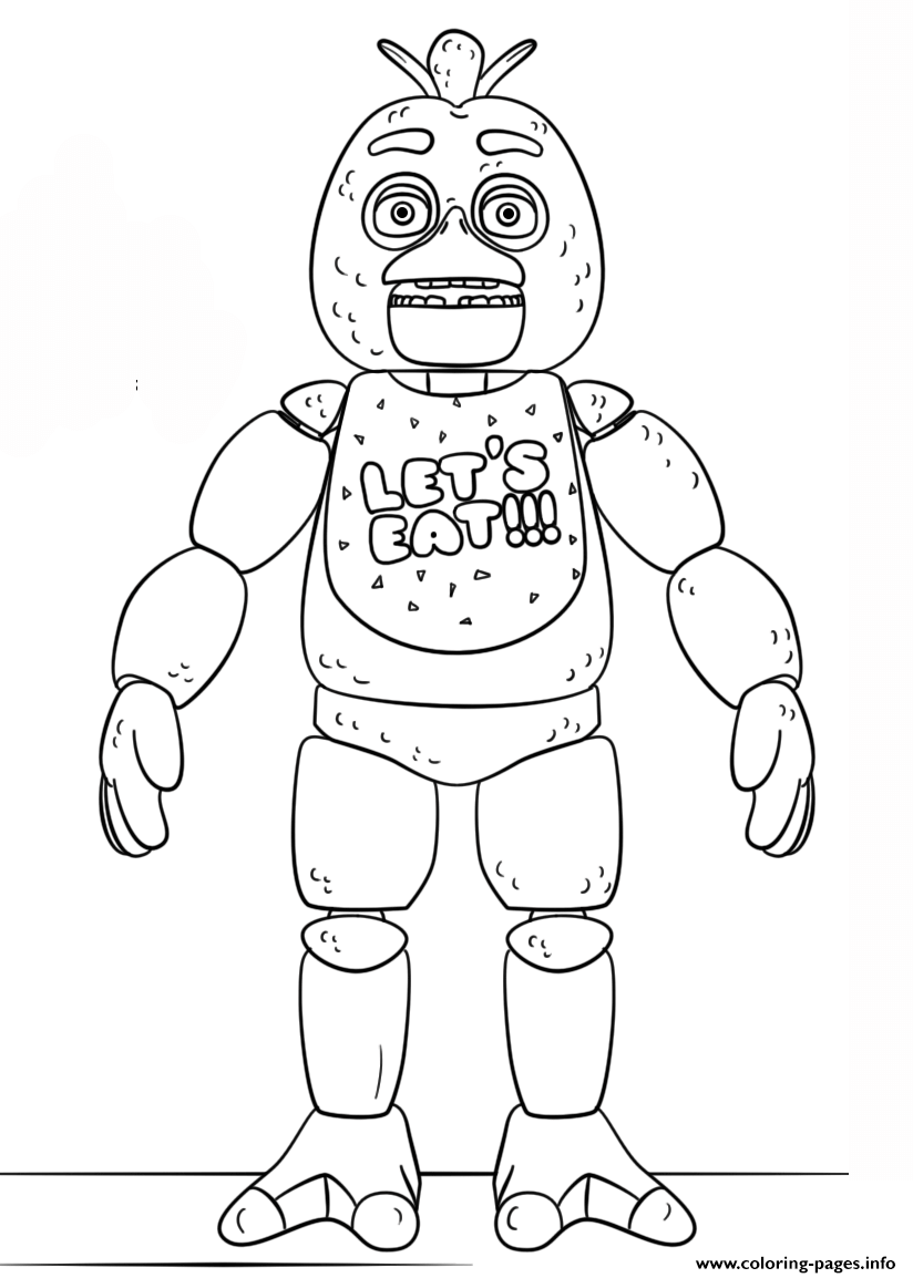 Fnaf Toy Chica Lets Eat Coloring