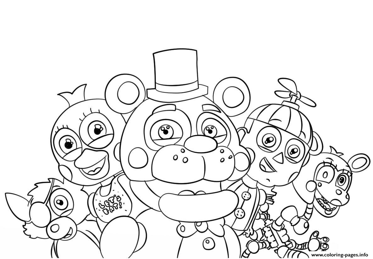 photo relating to Free Printable Five Nights at Freddy's Coloring Pages referred to as 5 Evenings At Freddys All Figures Coloring Web pages Printable
