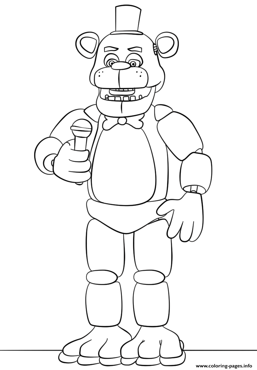 Freddy Fnaf Try To Sing Coloring