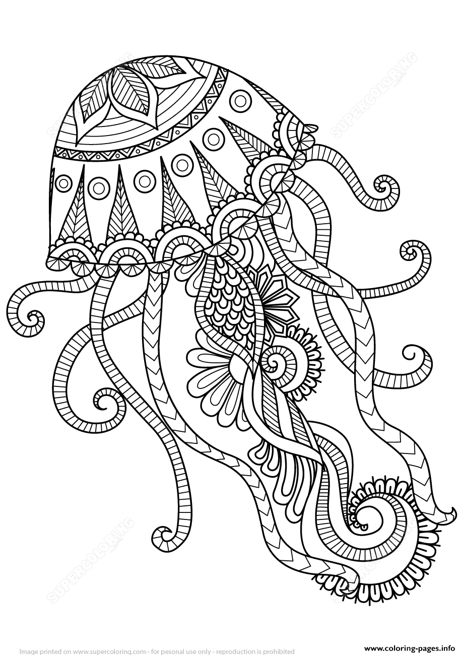 Jellyfish Zentangle Adults coloring pages