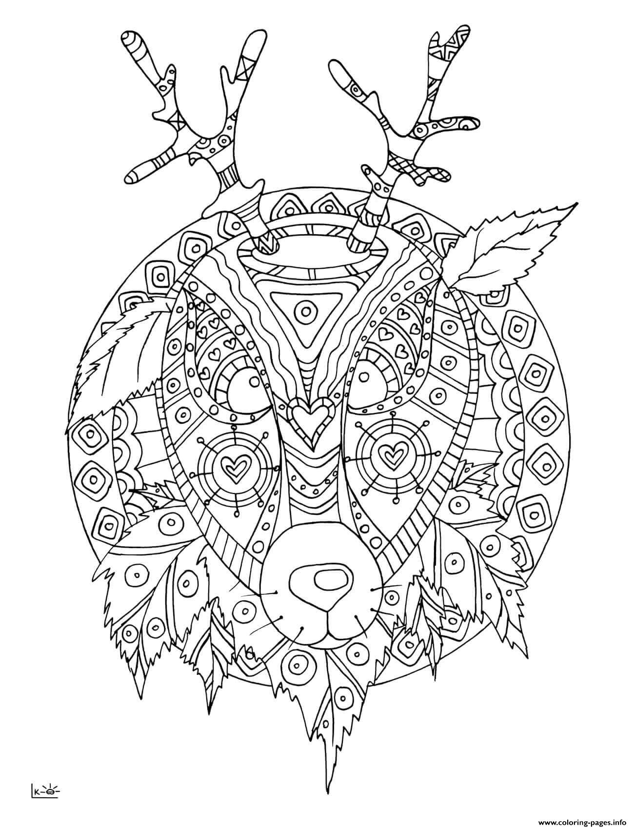 deer with tribal pattern adults coloring pages
