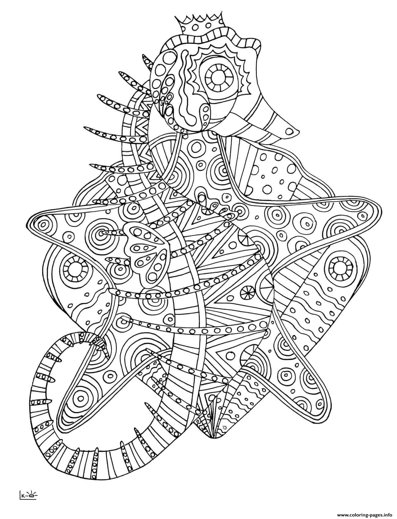 Seahorse With Tribal Pattern Adults Coloring Pages Printable